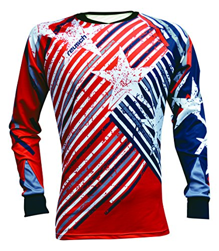 (Reusch Soccer Patriot II Pro-Fit Long Sleeve Goalkeeper Jersey, Red/White/Blue, Youth Large)