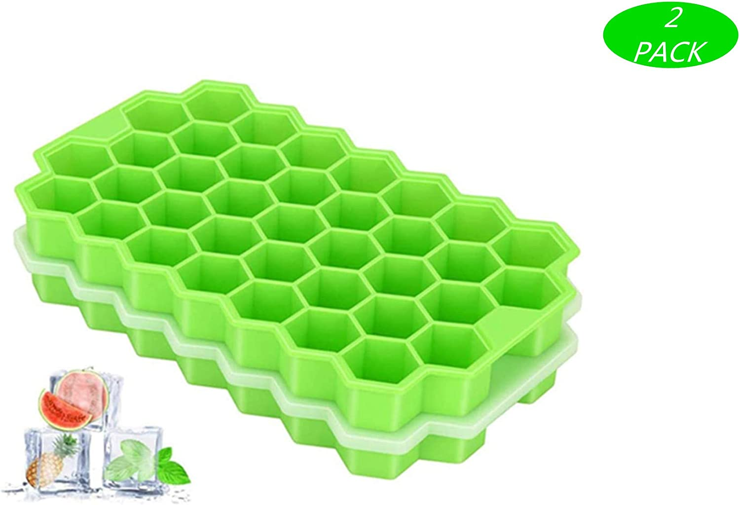 Ice Cube Trays, DCS 2 Pack Silicone Ice Cube Molds with Lid Flexible 74-Ice Trays BPA Free, for Whiskey, Cocktail, Stackable Flexible Safe Ice Cube Molds