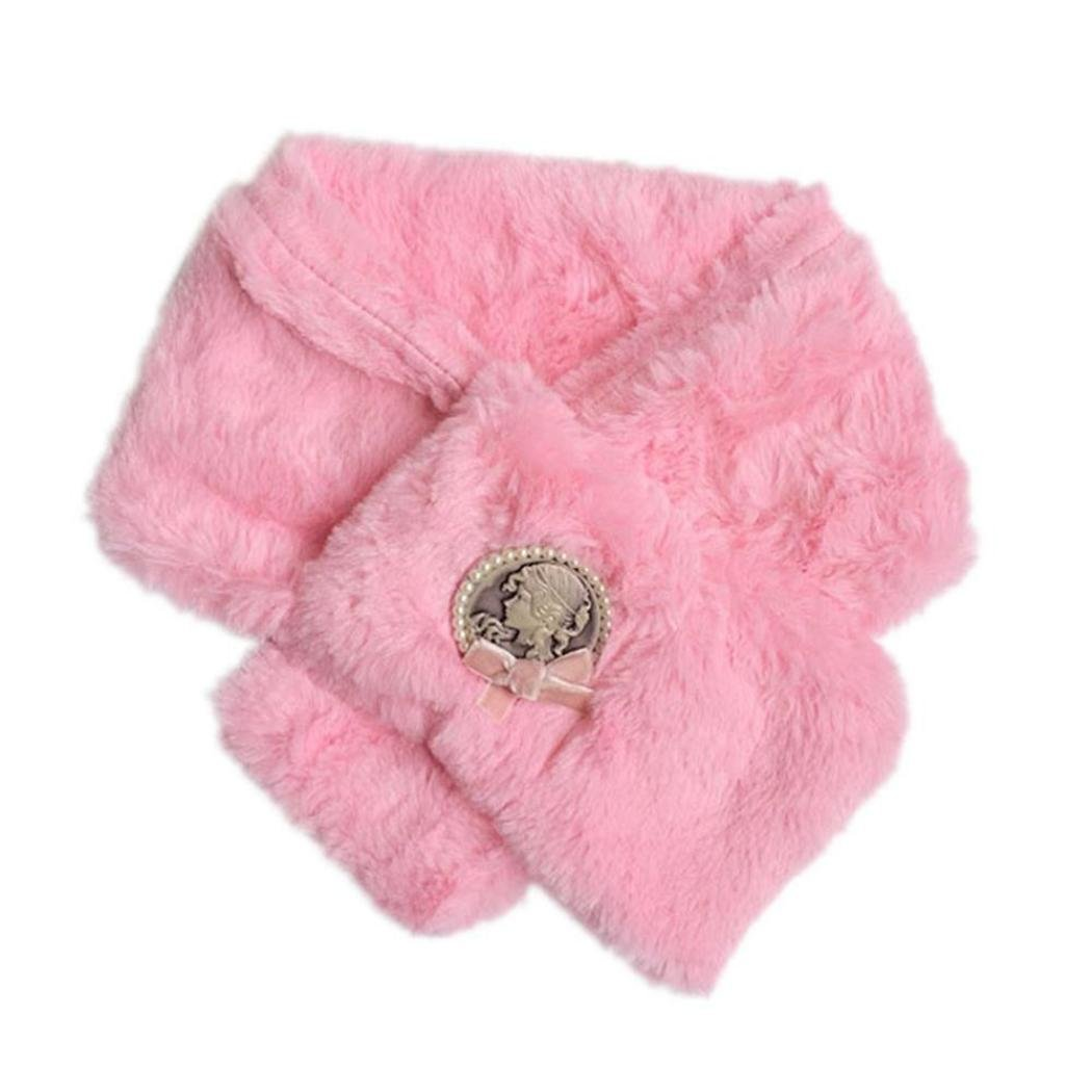 Koly Girls Baby Kids Winter Scarf Retro Shawl Warmer Coral Velvet Neck Collar (Pink) Koly-FB01