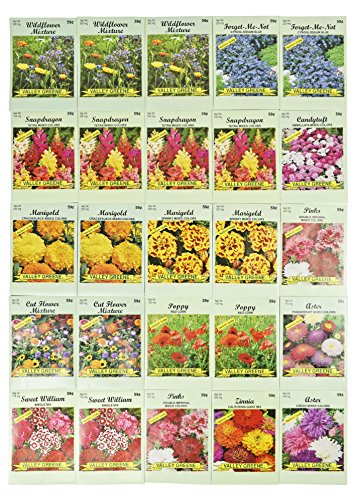 Seed Packets Not Me Forget (Set of 25 Valley Green Flower Seed Packets Including 10 Or More Varieties Forget Me Nots, Pinks, Marigolds, Zinnia, Wildflower, Poppy, Snapdragon and More)