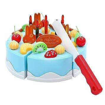 SIPLIV Juguetes de Corte de plástico simulan Juego de Comida, cortando Pastel de cumpleaños Regalo para niños Bricolaje cortando Pastel de cumpleaños ...