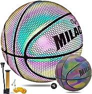 MILACHIC Basketballs, Holographic Reflective Glowing Basketball, Glow in The Dark Basketball, Official Size 7/