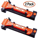 LOYMR 2 PCS Car Safety Hammer Auto Car Window Glass Hammer Breaker and Auto Safety Seatbelt Cutter 2-in-1 Rescue…