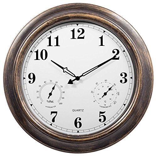 SkyNature 18 Inch Large Outdoor Wall Clock Waterproof with Temperature and Humidity (Update Version) by SkyNature