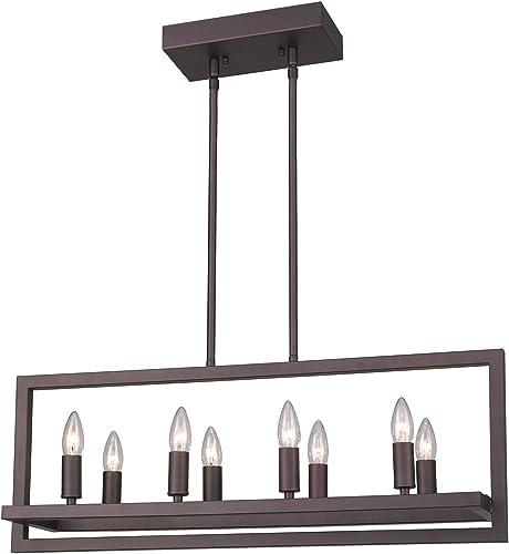 Emliviar 8-Light Island Pendant Light, Modern Dining Room Light Fixture, Oil Rubbed Bronze Finish, 2A2-D8 ORB