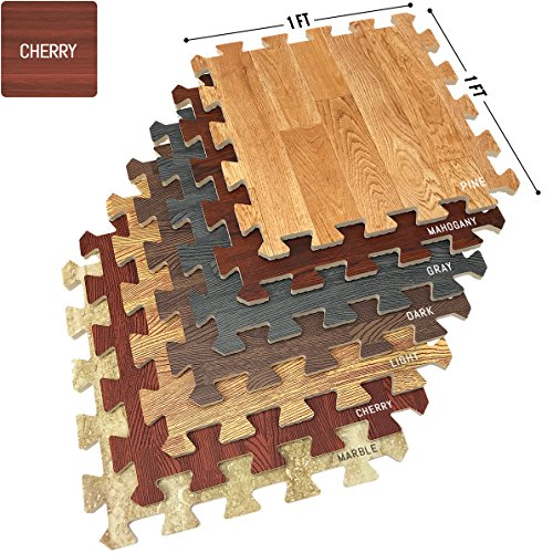 Sorbus Wood Floor Mats Foam Interlocking Wood Mats Each Tile 1 Square Foot 3/8-Inch Thick Puzzle Wood Tiles with Borders - for Home Office Playroom Basement (16 Tiles 16 Sq ft, Wood Grain - Cherry)