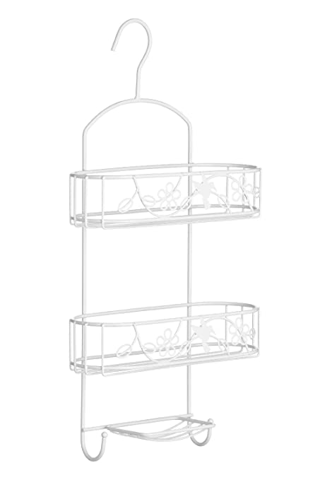 Paradise Shower Caddy 2 Tier//Soap Dish White Powder Coated Metal
