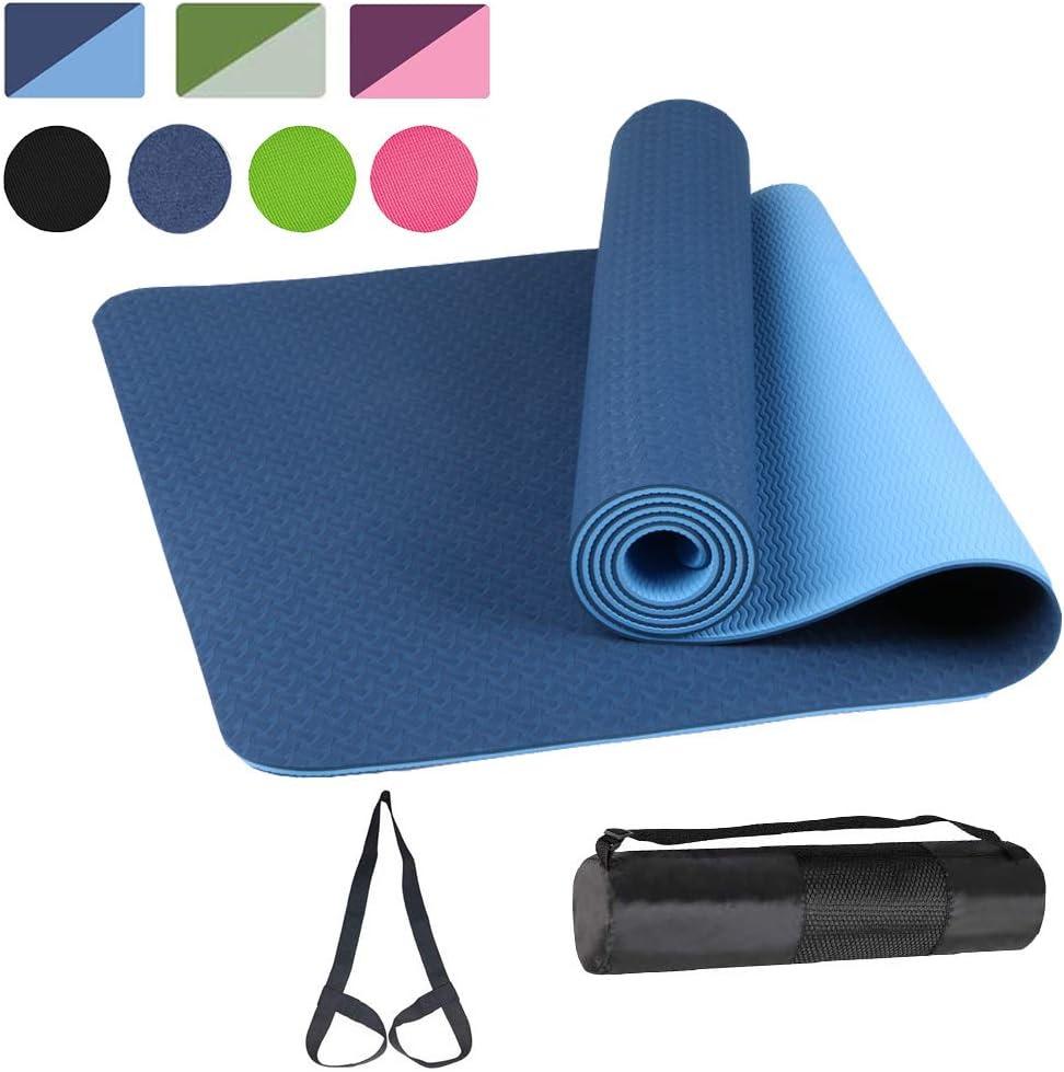 Yoga Mat TPE Non-Slip Pro Yoga Mats for Women and All Yoga Lovers Pilates/&Floor Exercise