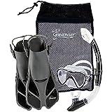 Seavenger Adult and Junior Diving Snorkel Set- Dry Top Snorkel / Trek Fin / Single Len Mask / Gear Bag- Blue/red/yellow/black/bs