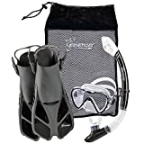 Seavenger Diving Dry Top Snorkel Set with Trek Fin, Single Lens Mask and Gear Bag, S/M - Size 4.5 to 8.5, Gray/Black