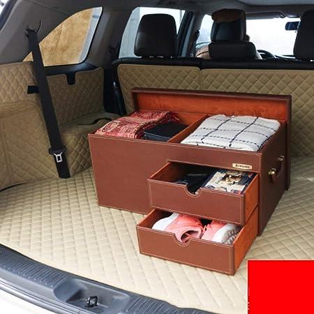 Amazon.es: Autos Vehículos Arranque Organizador Caja Ordenado, Con Tronco Cargo Caja De Almacenamiento Cajón De 3 Capas De Reparto De Diseño No Deslizante De Gran Capacidad Para La Auto-Conducción, Marrón