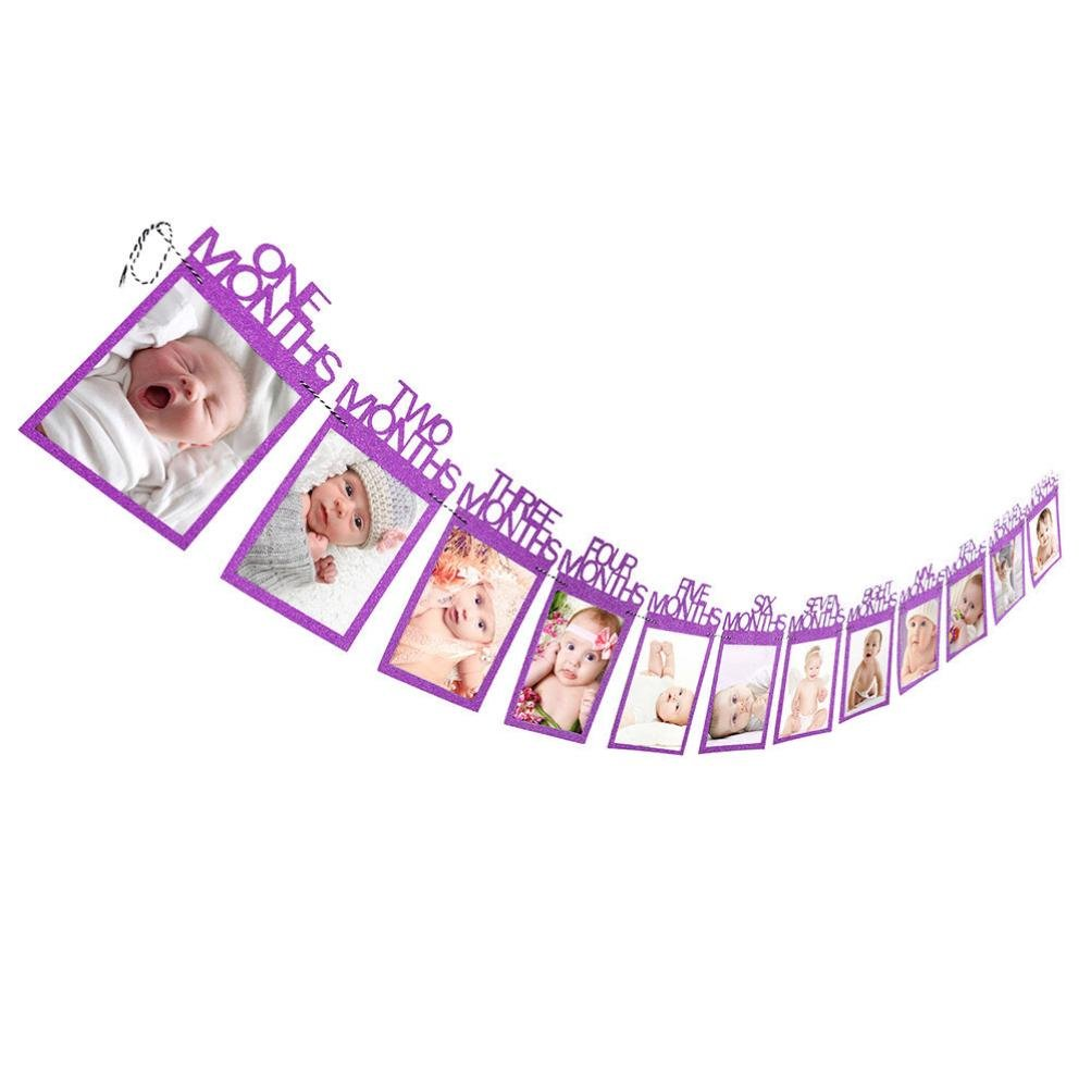 Deesee(TM)13Pcs Creative Happy Birthday Paper Photo Frame Wall Hanging Picture Album (Purple)