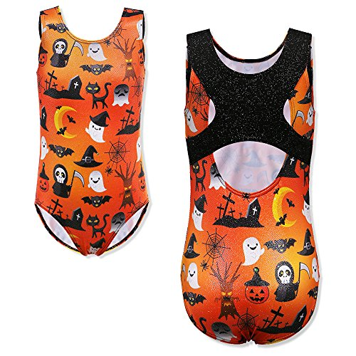 TFJH E Shiny Ballet Leotard Girls Gymnastics Apparel One Piece Practice Clothes Size 7-8 Orange Halloween 8A