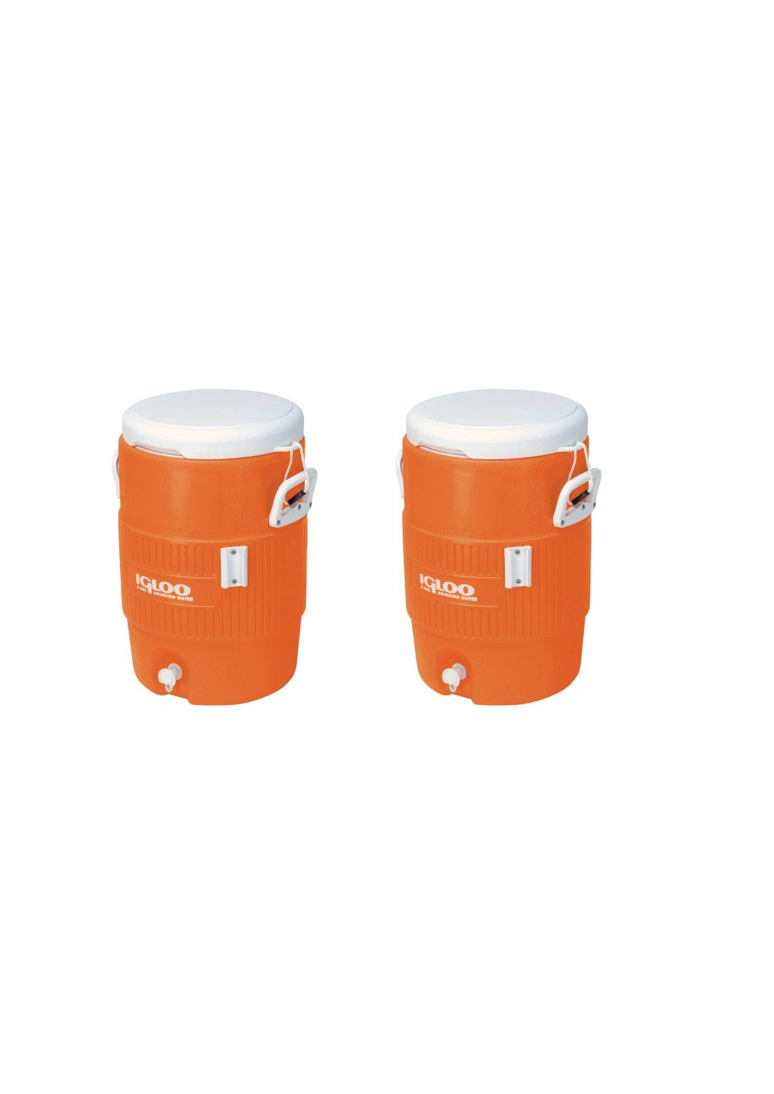 Igloo 5-Gallon Heavy-Duty Beverage Cooler, Orange (2 Pack,Orange)