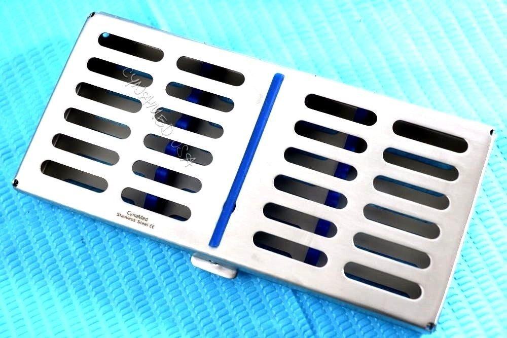 10 GERMAN PREMIUM QUALITY DENTAL AUTOCLAVE STERILIZATION CASSETTE RACK BOX TRAY FOR 7 INSTRUMENTS BLUE ( CYNAMED )