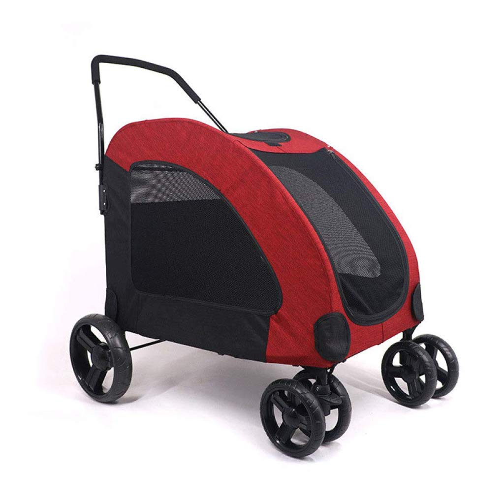 Red Pet Trolley Cart, Foldable for Dogs Cats with Four Wheels Shockproof Front Wheel 360 Degree redation Pet Travel, Stroller One Touch to Assemble, Bearing Weight 55kg