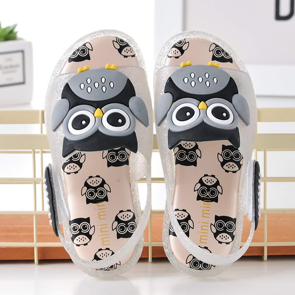 XinYiQu Kids Led Light Up Todder Sandals Summer Cartoon Owl Jelly Shoes for Girls Boys