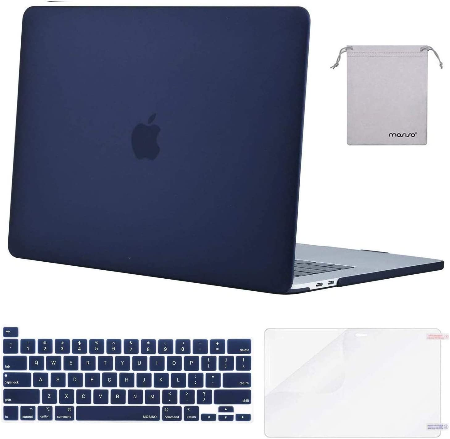 MOSISO MacBook Pro 16 inch Case 2019 Release A2141 with Touch Bar & Touch ID, Plastic Hard Shell Case & Keyboard Cover & Screen Protector & Storage Bag Compatible with MacBook Pro 16, Navy Blue