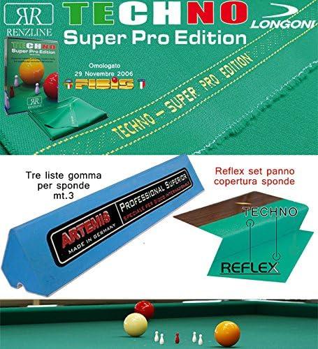 Longoni Techno Super Pro Edition. Kit Paño billar 5 Birilli Internacional. Corte MT. 3,05 H