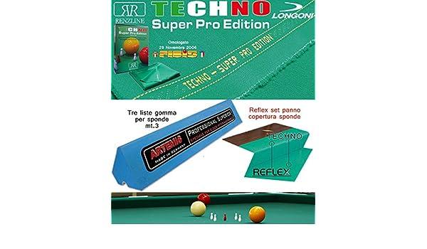 Longoni Techno Super Pro Edition. Kit Paño billar 5 Birilli Internacional. Corte MT. 3,05 H MT. 1,60, Comprensivo De Corte gamuza Reflex para sponde y de juego 3 gomas para sponde Longoni