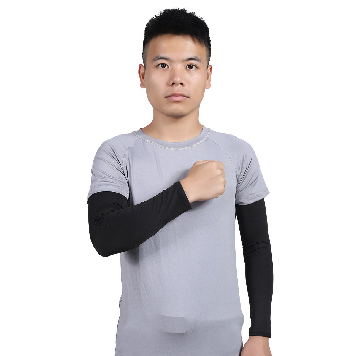 Hi-crazystore UV Sun Protective Sleeves Breathable and Elastic for Arm Pads Cooling Compression Elbow Supporter for Cycling Basketball Black Arm Sleeve for Men and Women