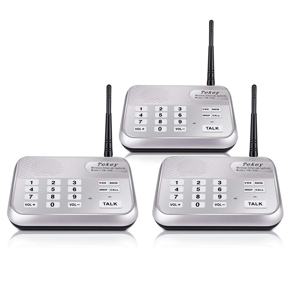 Wireless Intercom System (2018 Version), TekeyTBox 1800 Feet Long Range 10 Channel Digital FM Wireless Intercom System for Home and Office Walkie Talkie System for Outdoor Activitie(3 Stations Silver)