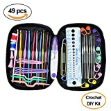Arts & Crafts : Crochet Hooks Set - Napoer 49pcs Mixed Aluminum Handle Crochet Hook Knitting Knit Needle with PU Case, Smooth Needles for Superior Results DIY Knitting Tools Set, Suitable for Crochet Lover