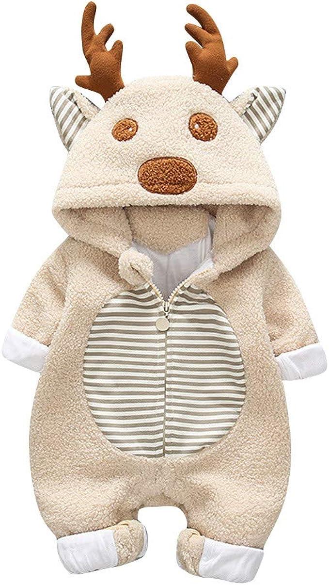 Newborn Baby Boy Girl Fleece Print Winter Warm Jumpsuit Hooded Coat Outwear T