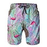 Adults Funny Flamingos Pineapple Swim Trunks Drawstring Quick Dry Board Shorts