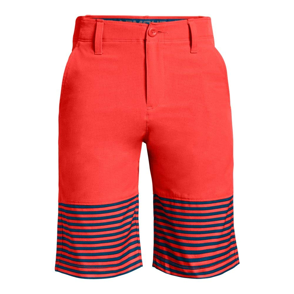 Under Armour Boys' MP Vented Nov Short, Neon Coral (985)/Neon Coral, 6