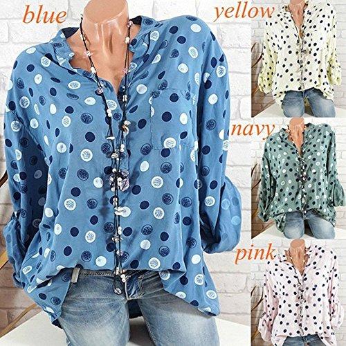 T Lache Bleu Blouses Tops Longues Haut et Col Chemisiers Pois Femme Shirts Fashion Automne JackenLOVE V Casual Manches Printemps xwRqHzfq1