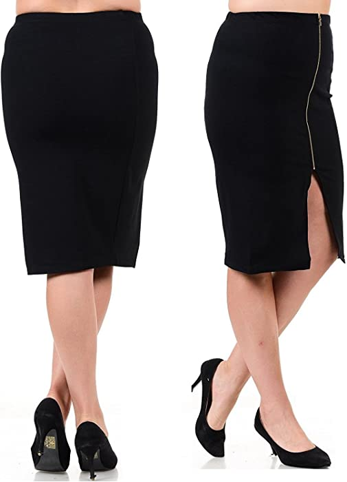 0691110b262f1 Ladies Women s Slim Stretch Side Zipper Pencil Party Office Black midi Skirt  at Amazon Women s Clothing store