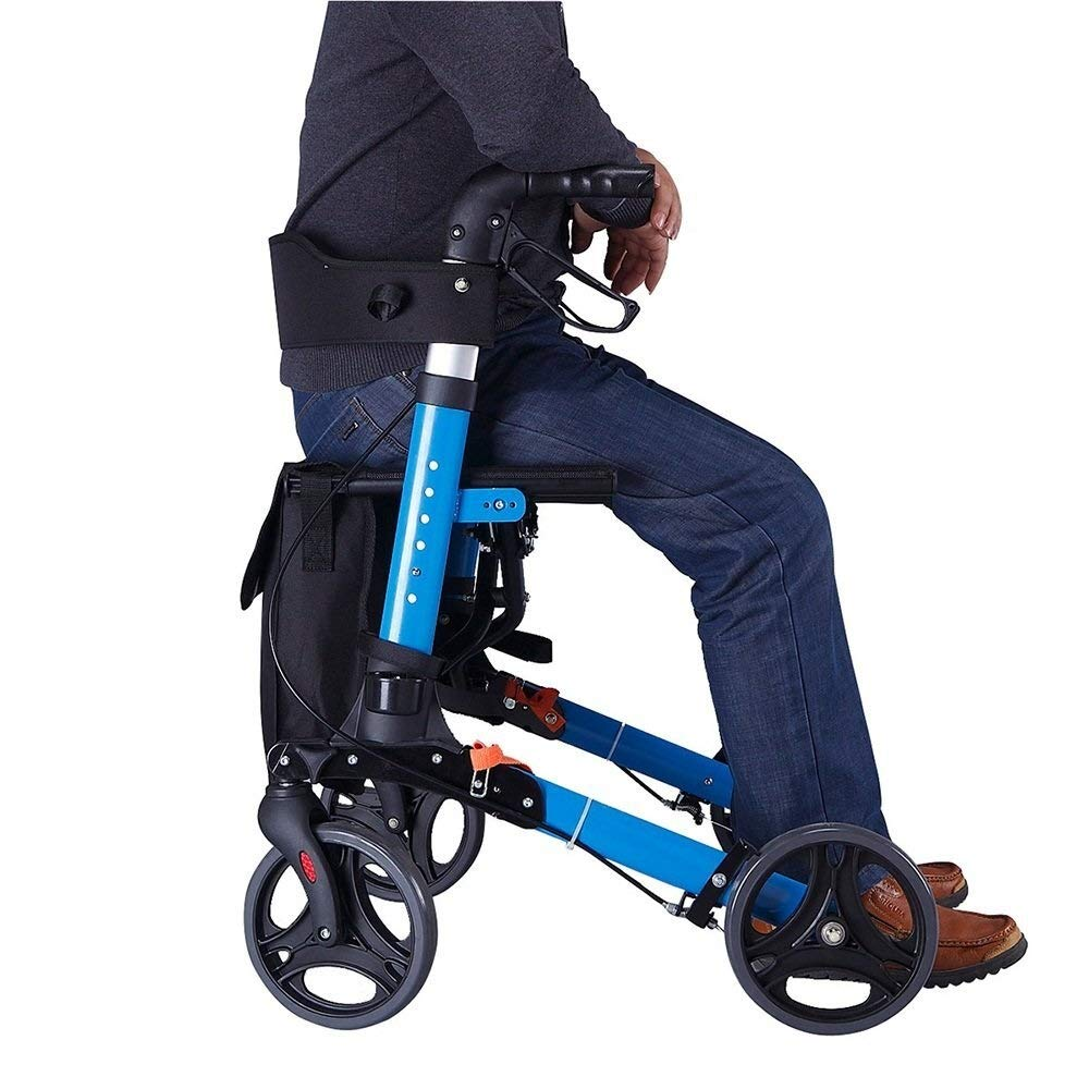 Rollator Walker Under Seat Storage Basket Height Adjustable Roller Double Safety Brake Auxiliary Walking Safety Walker (Color : Blue) by YL WALKER (Image #8)