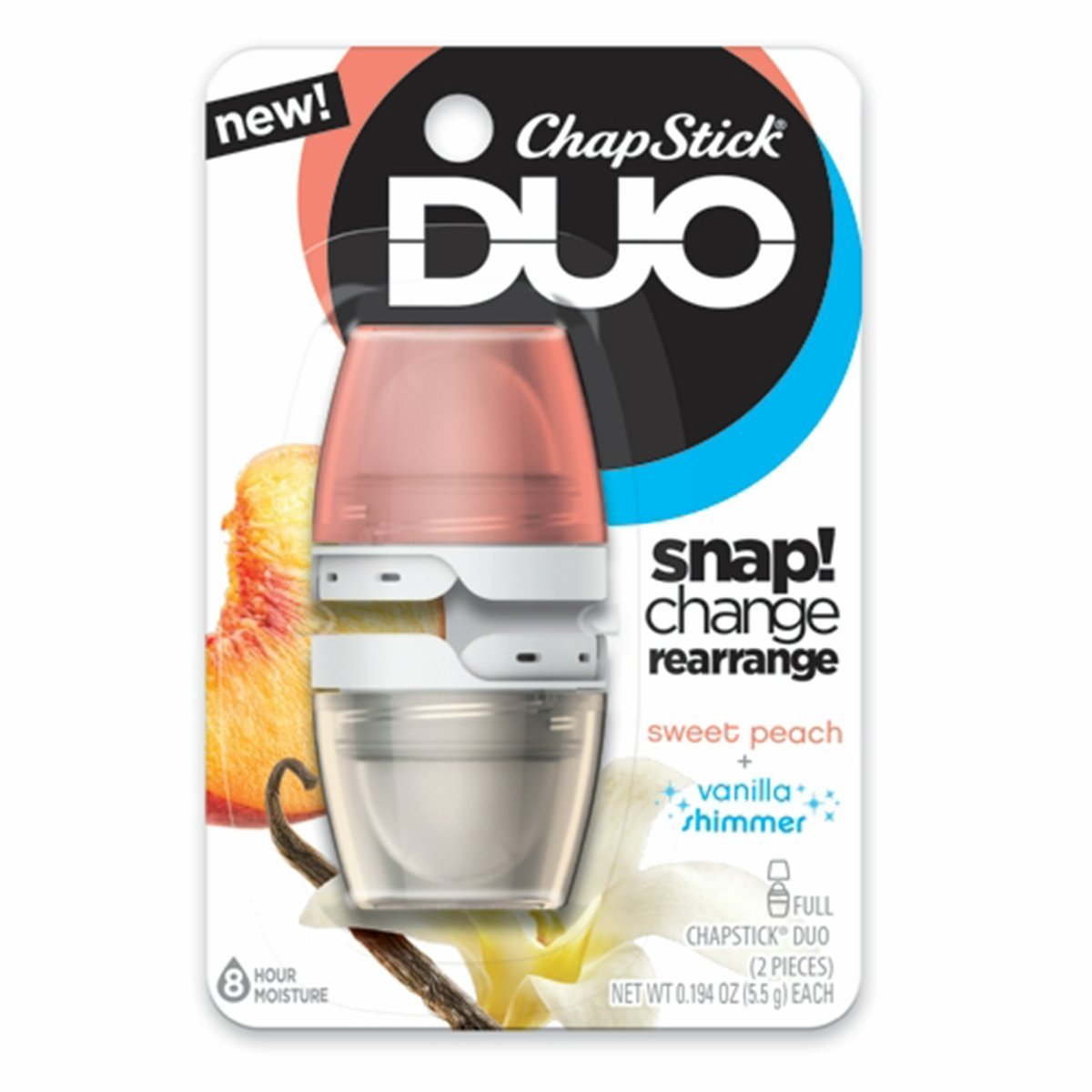 ChapStick DUO Full Lip Balm, 8 Hour Moisture, 0.194 Ounce Each (Sweet Peach & Vanilla Shimmer Flavors, 1 Blister Pack of 2 Pieces)