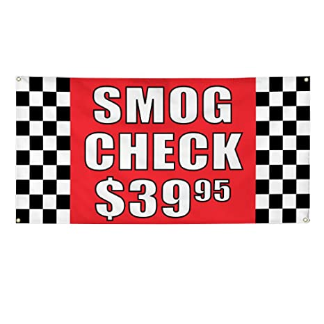 How Much Does A Smog Check Cost >> Amazon Com Vinyl Banner Sign Smog Check 3995 1 Automotive