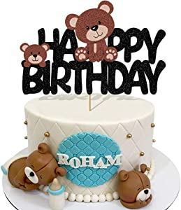 Glorymoment Teddy Bear Cake Topper Birthday, Glitter Happy Birthday Cake Topper for Girls Boys Kids Birthday Party Decor, Teddy Bear Cake Decorations for Baby Shower (6.7'' x 4.25''')
