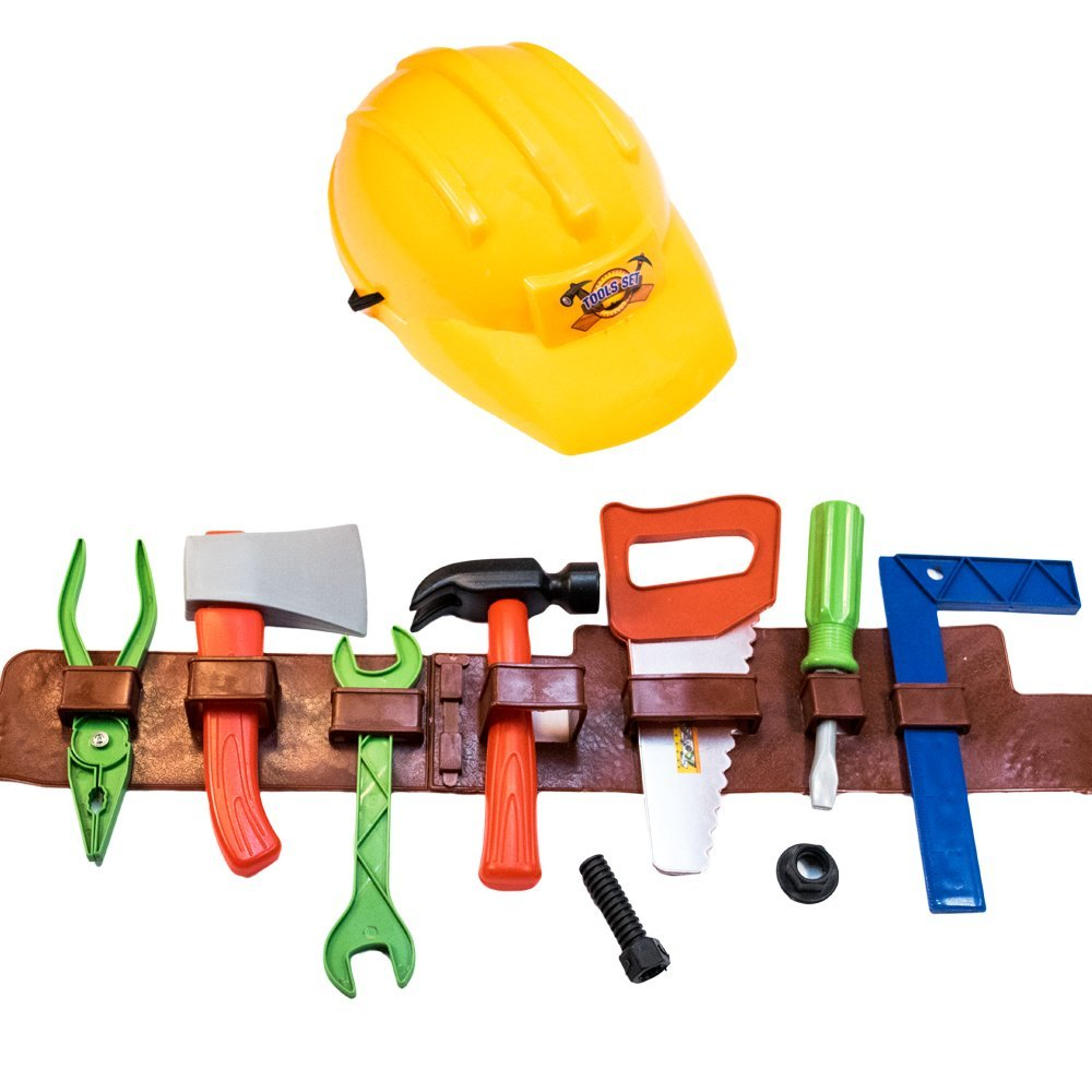 TukTek Kids First 8 Piece Construction Workerおもちゃハード帽子&調節可能なツールベルトW /ハンマーSaw Screwdriver and More for Boys & Girls   B07DKRRSRR