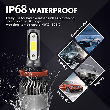 FANTELI H11 5 Years Warranty H8,H9 8000K Iceberg Blue LED Headlight Bulbs All-in-One Conversion High Beam//Low Beam//Fog Lights Kit -12000 Lm Xenon HID Lamp Replacements Extremely Bright