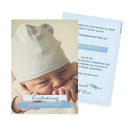 Hochwertige Taufkartetauf Bild In Blau Einladungen Zur