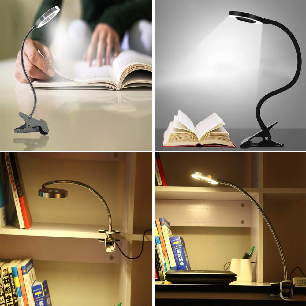 W-LITE 6W LED USB Dimmable Reading Ligh Clip Laptop Lamp for Book,Piano,Bed Headboard,Desk, Eye-Care 2 Light Color Switchable, Adapter Included, Black by W-LITE (Image #9)