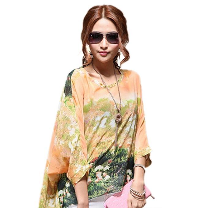 QIYUN.Z Butterfly Langarm Blumendruck Chiffon UnregelmäßIgen Rand Lose  Hemdbluse Damen Blusen Tuniken T-Shirts Tops Shirt Kleider  Amazon.de   Bekleidung 694a660e9f