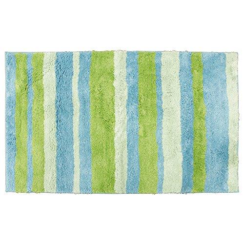 Teppich grün blau  InterDesign 18991EU Mikrofaser Stripz Teppich, 70 x 120 cm, blau ...