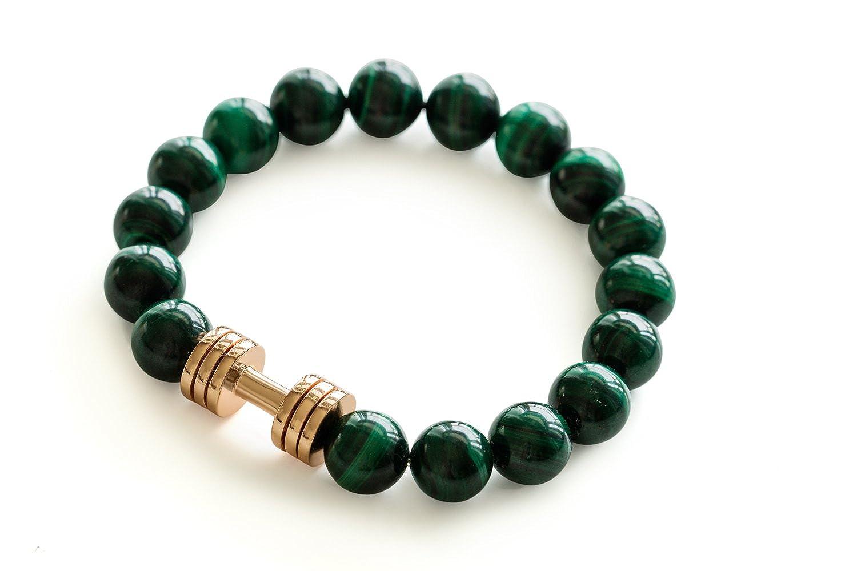 Malachite Dumbbell bracelet Rose Gold plated Fitness Gym Jewelry beaded bracelet