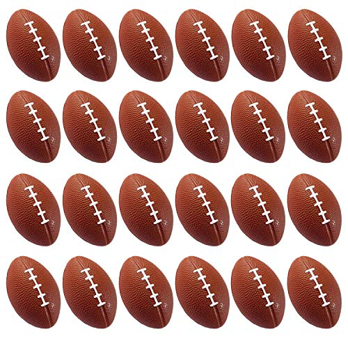 Wall2Wall Mini Sports Balls for Kids Party Favor Toy, Football, Squeeze Foam for Stress, Anxiety Relief, Relaxation. (24 Pack (Footballs))