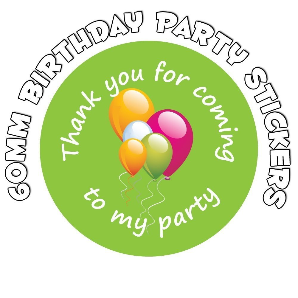 'Thank You For Coming To My Party' - Birthday Stickers - Green Party Balloon Design (24) StickerZone
