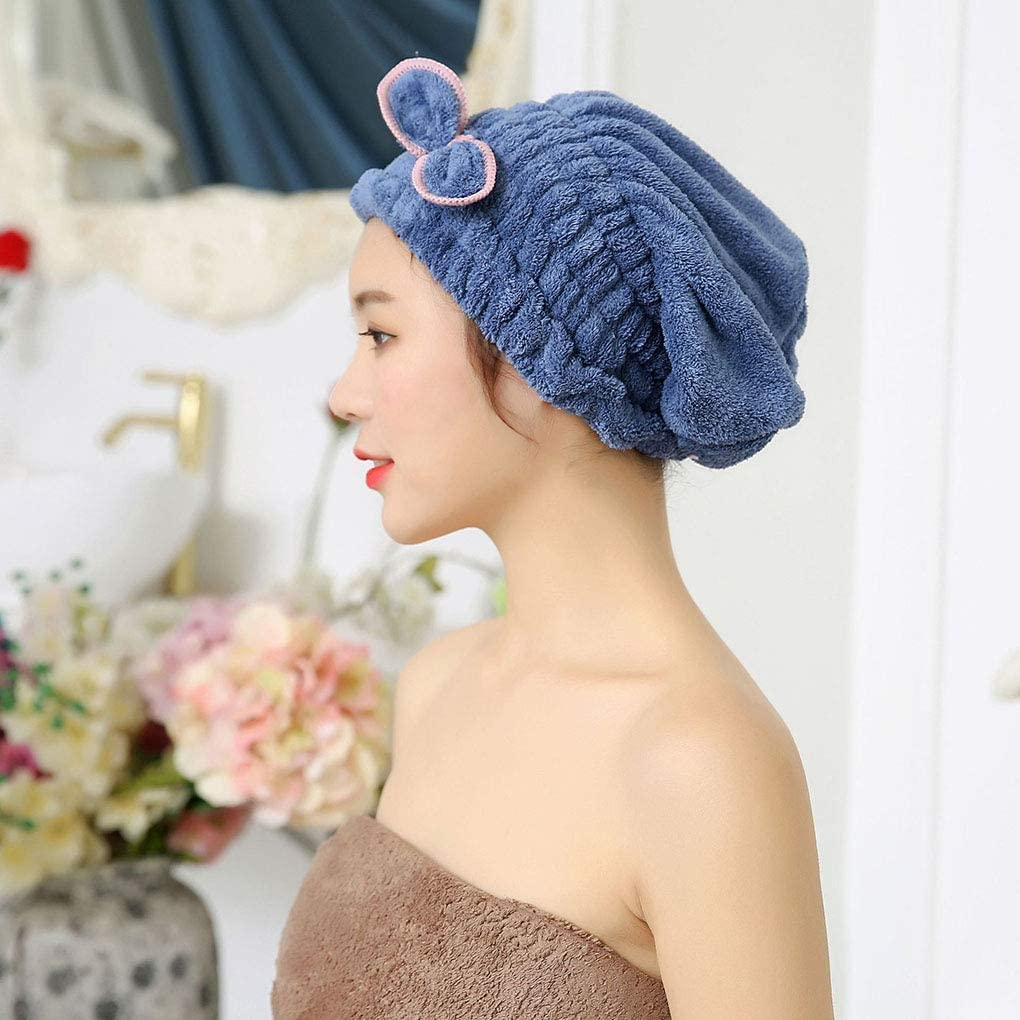 Flushzing Microfiber Hair Drying Towel Head Wrap with Bow-knot Shower Cap Hair Turban Hair Wrap Bath Cap