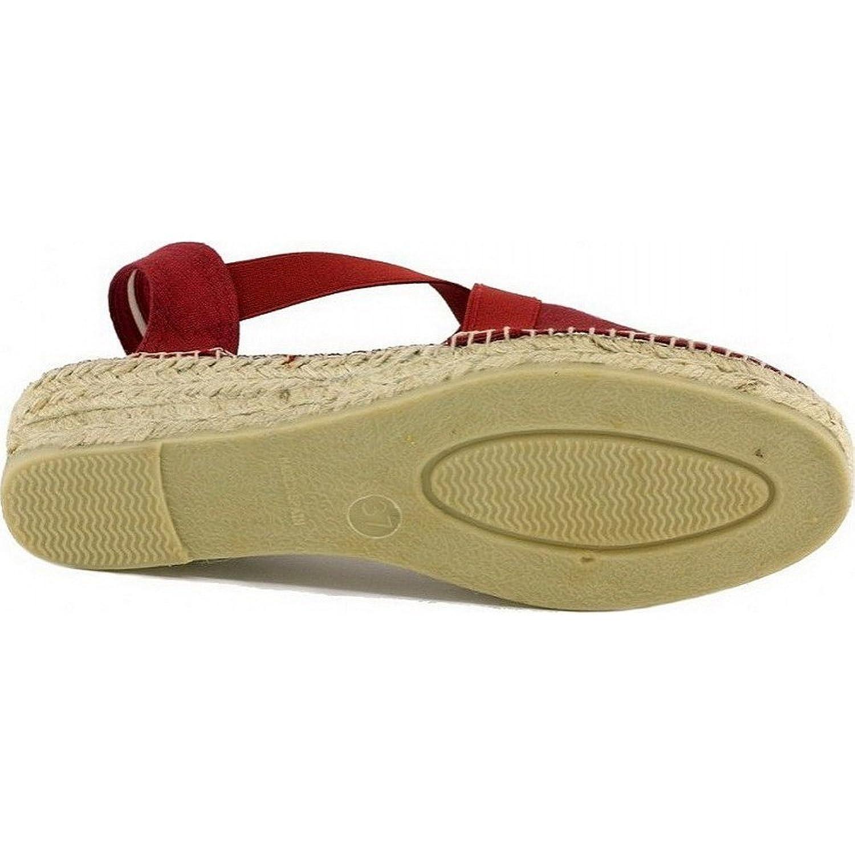 Vic - Espadrilles bout fermés en toile rouge avec deux élastiques croisés petit talon compensé marque Toni PONS hxitnQiPa