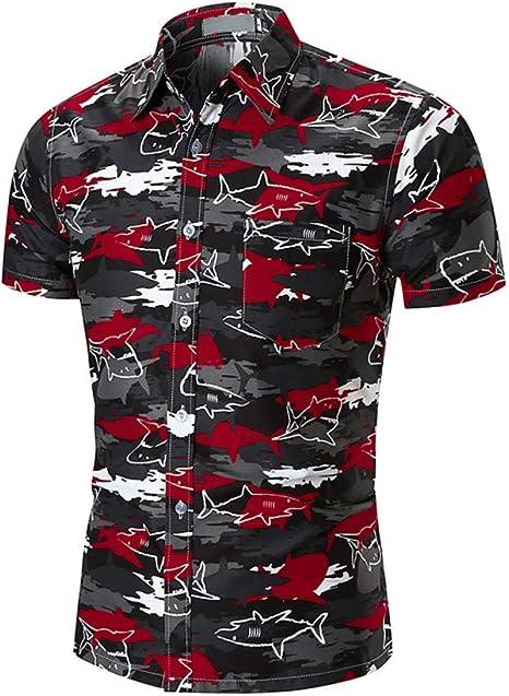 CHENS Camisa/Casual/Unisex/M Camisa de Hombre de Manga Corta de Verano Fresco Pequeño Estampado de Tiburón Camisas de Playa Camisas Hombre Hawaianas XXL: Amazon.es: Deportes y aire libre