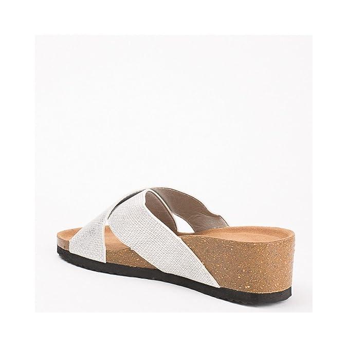 Ideal Shoes Mules Compensées Nacrées Effet Reptile Feliana Argent 41   Amazon.fr  Chaussures et Sacs 4352d5fbc3b1