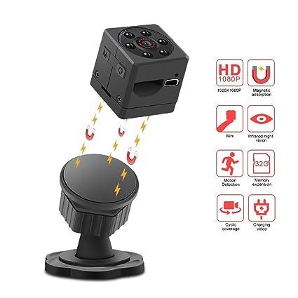 Kobwa - Mini cámara espía, cámara de seguridad portátil recargable HD 1080P 140 grados gran